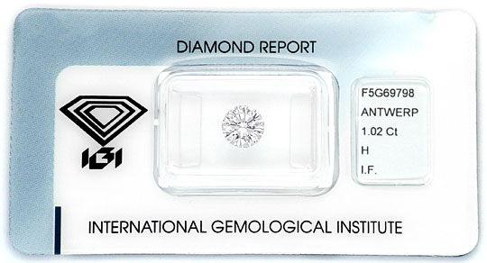 Foto 1, Diamant 1,02ct Einkaraeter Brillant IGI Lupenrein Weiss, D6096