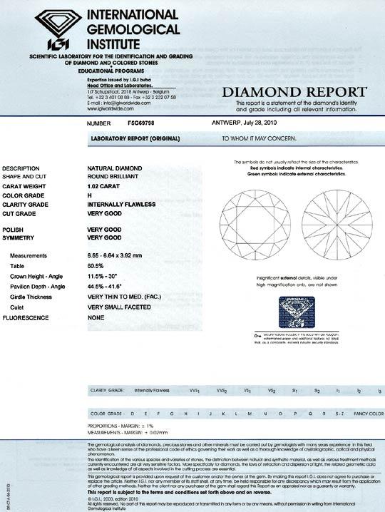 Foto 9, Diamant 1,02ct Einkaraeter Brillant IGI Lupenrein Weiss, D6096