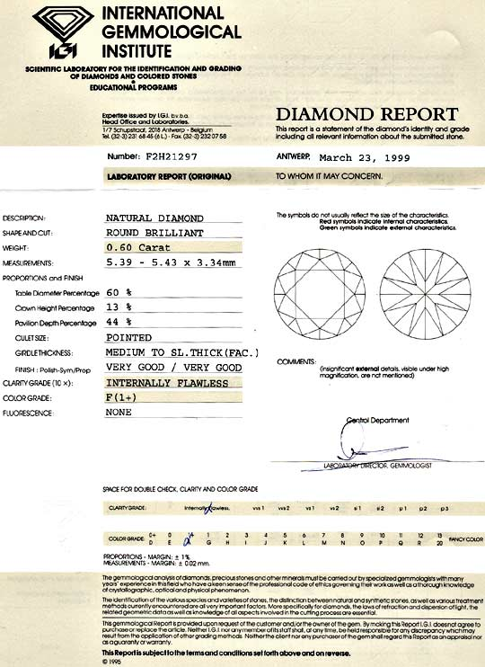 Foto 9, Diamant 0,6ct Brillant IGI Lupenrein Top Wesselton Plus, D6099