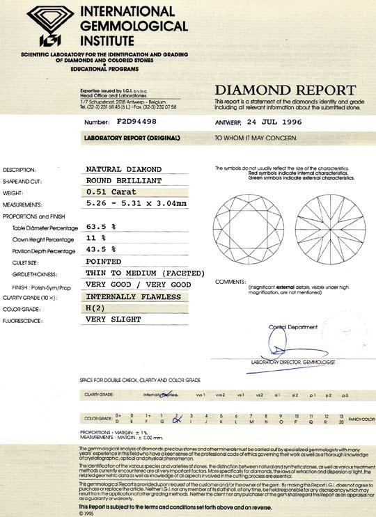 Foto 9, Diamant 0,51ct Brillant IGI Lupenrein Wesselton Weiss H, D6100