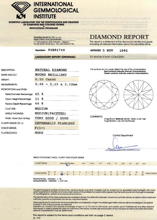 Foto 9, Diamant IGI 0,5ct Brillant Lupenrein Top Wesselton Plus, D6101