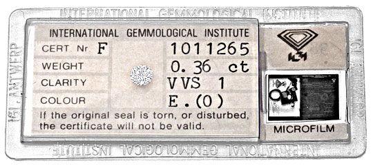 Foto 1, Diamant 0,36ct Brillant IGI River Hochfeines Weiss VVS1, D6103