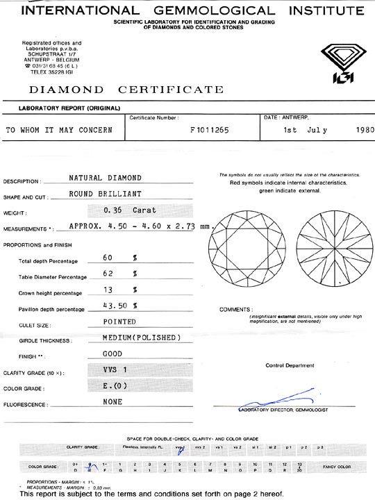 Foto 9, Diamant 0,36ct Brillant IGI River Hochfeines Weiss VVS1, D6103