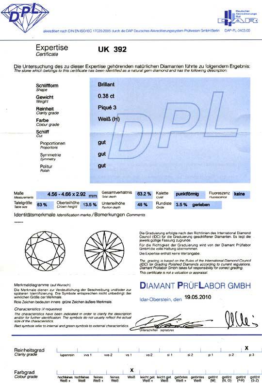 Foto 9, Diamant 0,38 Carat Brilliant DPL Expertise Wesselton P3, D6104