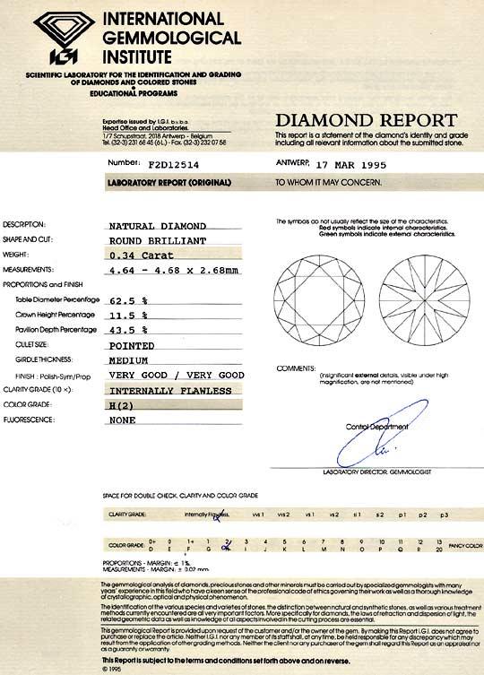 Foto 9, Diamant 0,34ct Brillant IGI Lupenrein Wesselton Weiss H, D6105