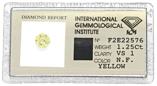 Foto 1, 1,25Carat Natural Fancy Yellow Zitrone Brillant VS1 IGI, D6107