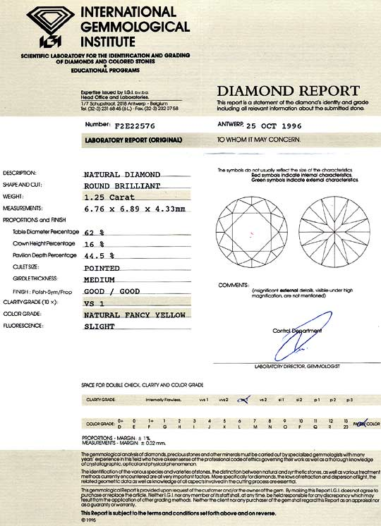 Foto 9, 1,25Carat Natural Fancy Yellow Zitrone Brillant VS1 IGI, D6107