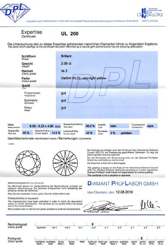 Foto 9, 2,06ct Zweikaraeter Diamant Brillantvollschliff DPL VS2, D6111