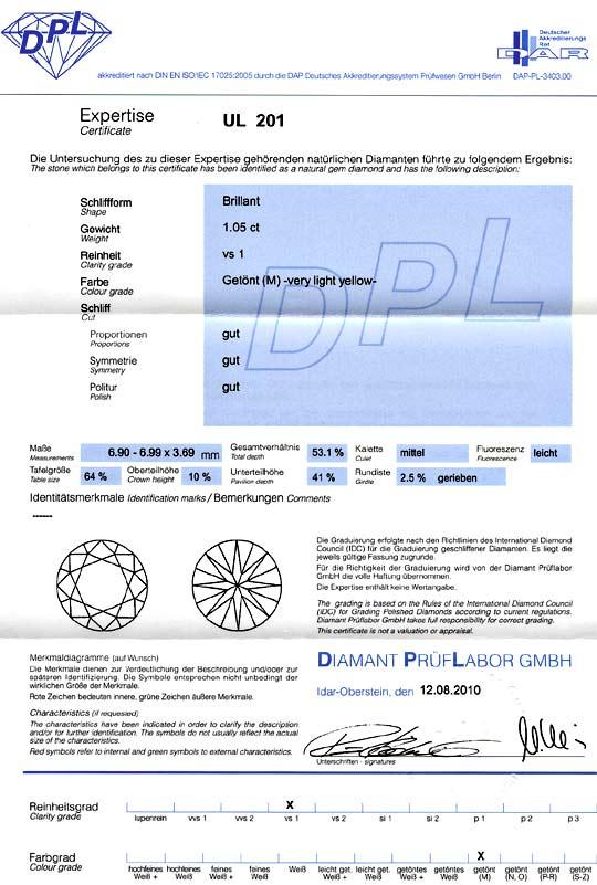 Foto 9, Ein Karaeter Brillant 1,05 Carat Brilliant DPL VS1 Cape, D6112