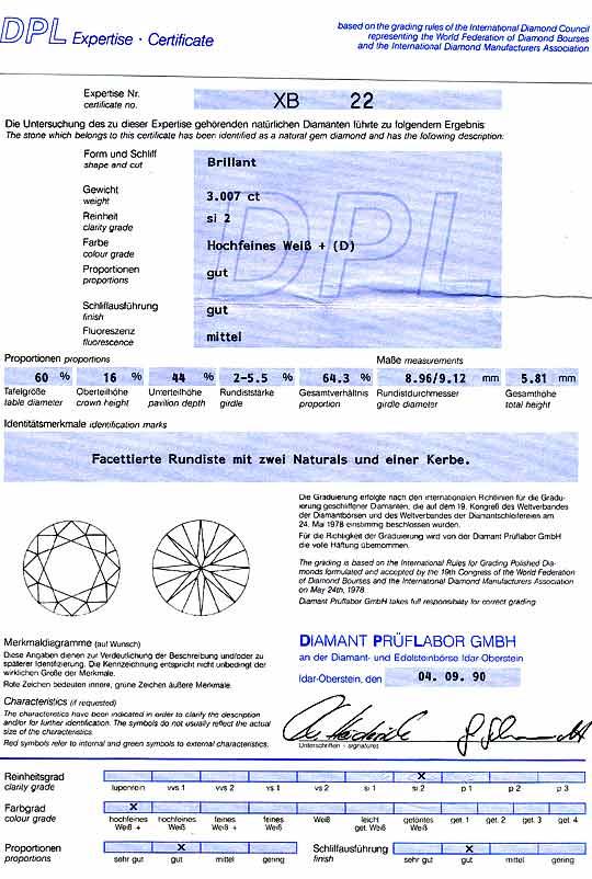 Foto 9, Dreikaraeter Diamant 3,007Carat Brillant DPL River D Si, D6113
