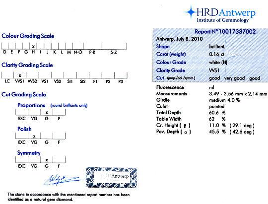 Foto 9, Diamant 0,16ct Brilliant HRD Expertise Wesselton H VVS1, D6115