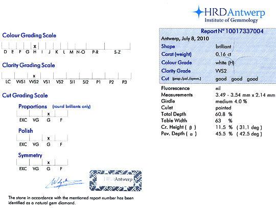 Foto 9, Diamant 0,16 Brillant in Wesselton H VVS2 HRD Expertise, D6116