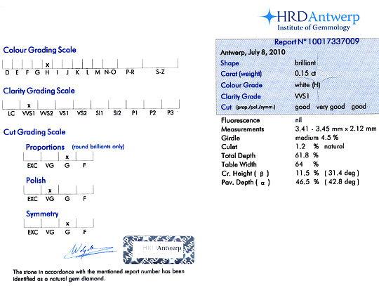 Foto 9, Diamant 0,15ct Brilliant HRD Expertise Wesselton H VVS1, D6118