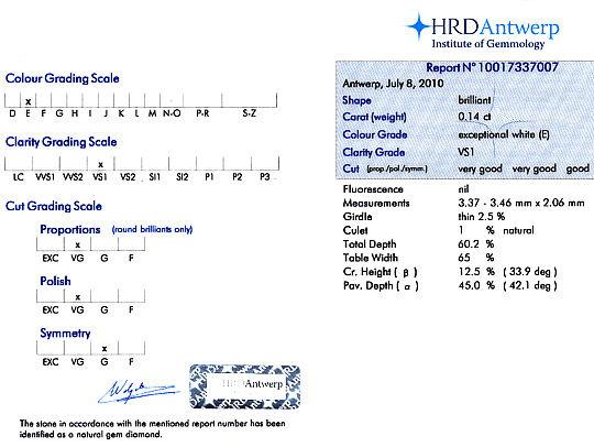 Foto 9, Diamant 0,14 ct Brillant River Hochfeines Weiss VS1 HRD, D6121