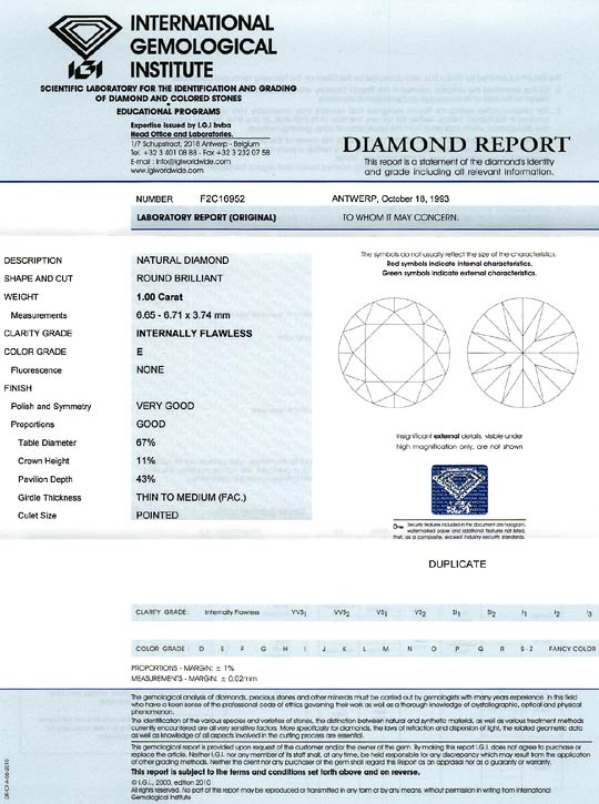 Foto 9, Diamant 1,00ct Brillant Lupenrein River E IGI Expertise, D6122