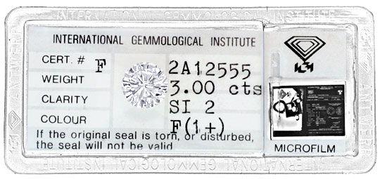 Foto 1, Dreikaräter Diamant 3,00ct Brillant Top Wesselton F IGI, D6126