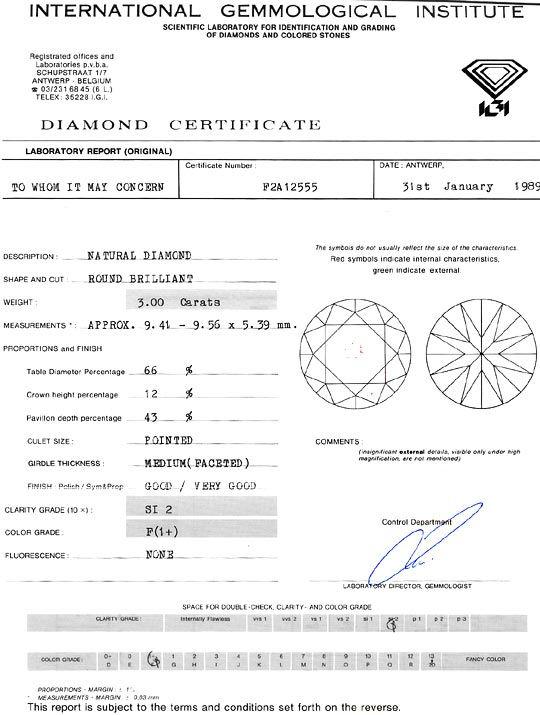 Foto 9, Dreikaräter Diamant 3,00ct Brillant Top Wesselton F IGI, D6126