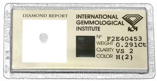 Foto 1, Diamant 0,291Carat Brillant Wesselton VS2 IGI Expertise, D6130