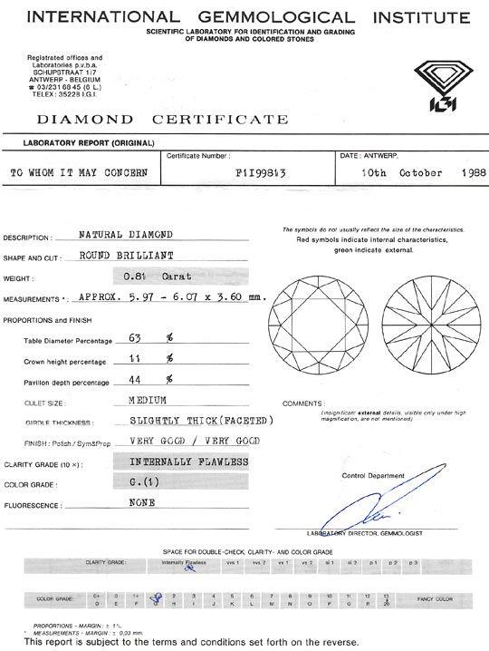 Foto 9, Diamant 0,81 Carat Brillant Lupenrein Top Wesselton IGI, D6133