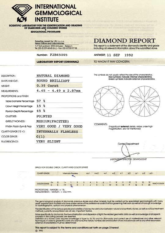 Foto 9, Diamant 0,35 Carat Brillant Lupenrein Top Wesselton IGI, D6135