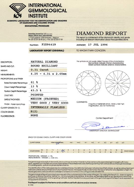 Foto 9, Diamant 0,31ct Brilliant Lupenrein Top Wesselton IGI VG, D6136