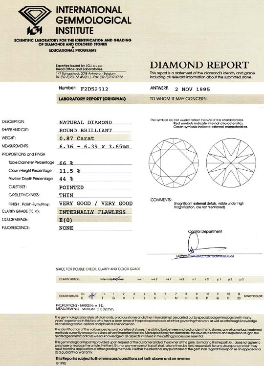 Foto 9 - Diamant 0,87 ct Brilliant Lupenrein River IGI Expertise, D6138
