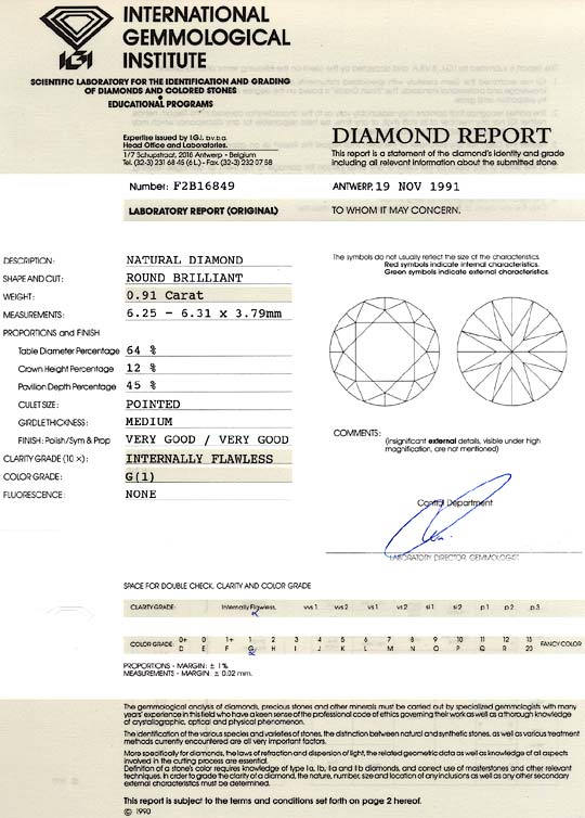Foto 9, Diamant 0,91 Carat Brillant IGI Lupenrein Top Wesselton, D6161