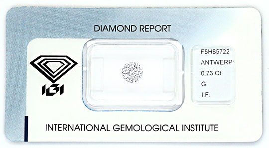Foto 1, Diamant 0,73 ct Brilliant IGI Lupenrein Top Wesselton G, D6163