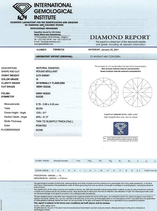 Foto 9, Diamant 0,73 ct Brilliant IGI Lupenrein Top Wesselton G, D6163