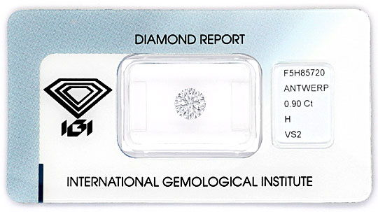 Foto 1, Diamant 0,90ct Brillant IGI Wesselton Weiss VS Ex Ex VG, D6164