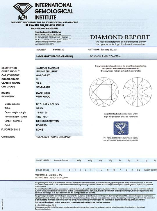 Foto 9, Diamant 0,90ct Brillant IGI Wesselton Weiss VS Ex Ex VG, D6164
