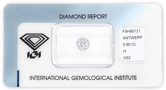 Foto 1, Diamant 0,90ct Brillant IGI Wesselton Weiss VS Ex VG VG, D6165
