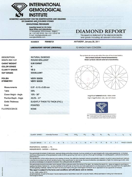 Foto 9, Diamant 0,90ct Brillant IGI Wesselton Weiss VS Ex VG VG, D6165