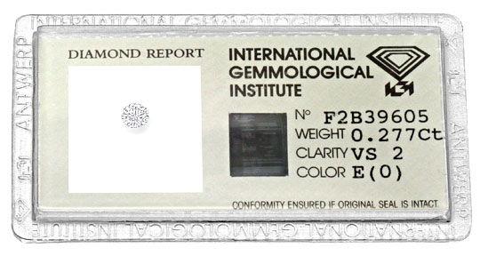 Foto 1, Diamant 0,277ct Brillant IGI River Hochfeines Weiss VS2, D6169