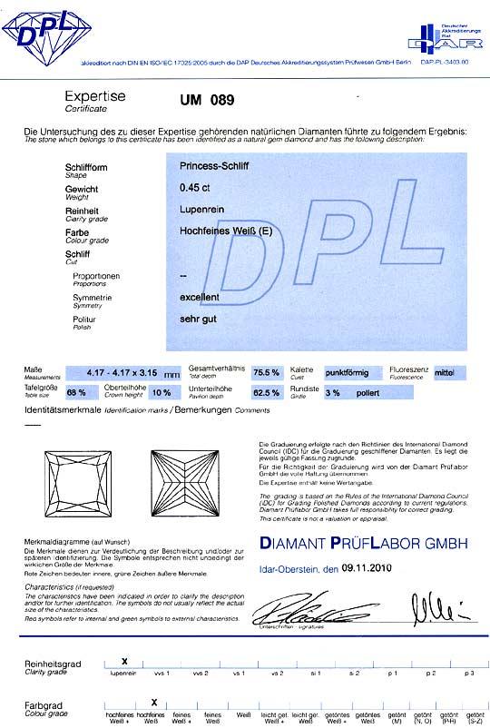 Foto 9, Diamant 0,45 Carat Lupenrein River Princess Schliff DPL, D6173