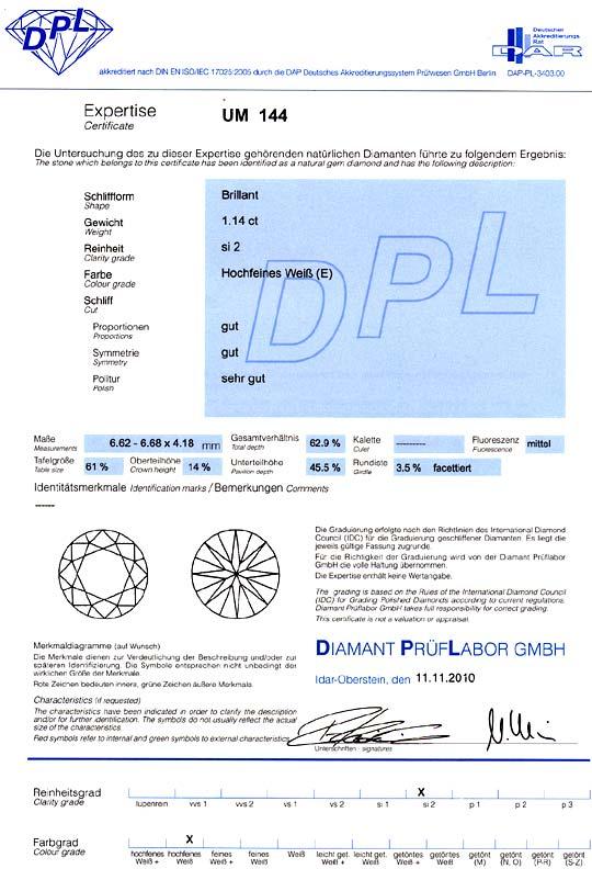 Foto 9, Diamant 1,14ct Brillant DPL River E Hochfeines Weiss Si, D6175