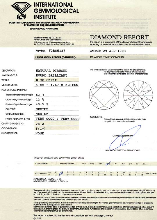 Foto 9 - Diamant 0,38 Carat Brilliant IGI Top Wesselton Plus VS2, D6177