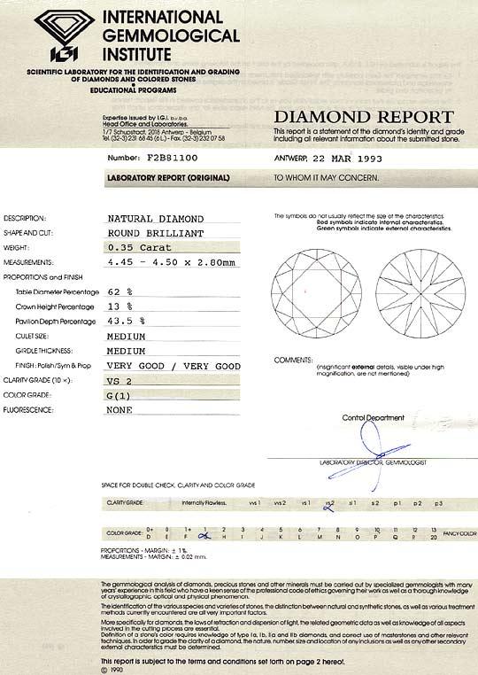 Foto 9, Diamant 0,35 Carat Brillant IGI Gutachten Top Wesselton, D6178