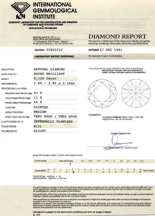 Foto 9, Diamant 0,226 ct Brillant IGI Lupenrein Wesselton Weiss, D6179