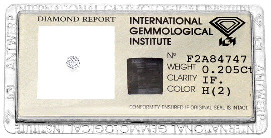 Foto 1, Diamant Brillant 0,205 ct Lupenrein Wesselton Weiss IGI, D6180