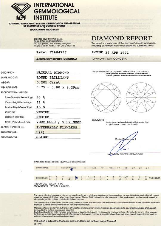 Foto 9, Diamant Brillant 0,205 ct Lupenrein Wesselton Weiss IGI, D6180