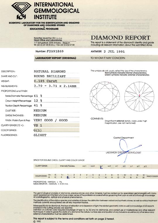 Foto 9, Diamant 0,185ct Brillant IGI Expterise Top Wesselton VS, D6181