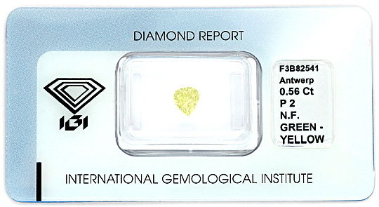 Foto 1, Fancy Green Yellow Diamant 0,56 ct Tropfen Schliff, IGI, D6183