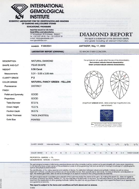 Foto 9, Fancy Green Yellow Diamant 0,56 ct Tropfen Schliff, IGI, D6183