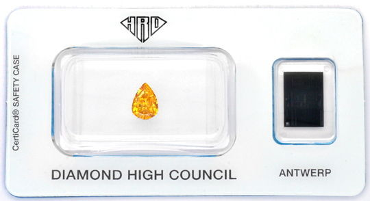 Foto 1 - Fancy Intense Orange Yellow Diamant Tropfen 0,71 ct HRD, D6184
