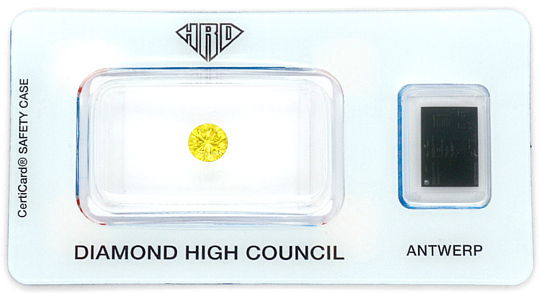 Foto 1, Natural Fancy Intense Yellow Diamant 0,64 Brilliant HRD, D6185