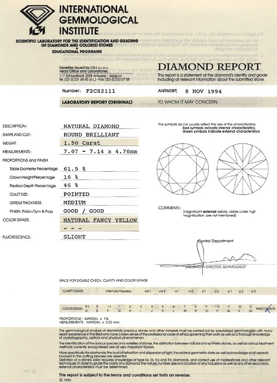 Foto 9, Natural Fancy Yellow Dunkel Gold Diamant 1,50 Carat IGI, D6187