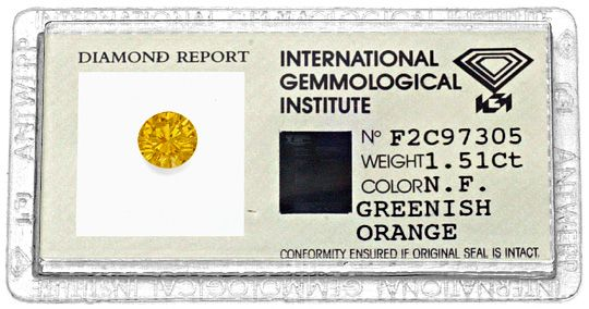 Foto 1 - Natural Fancy Greenish Orange Diamant 1,51 Brillant IGI, D6188