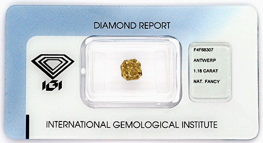 Foto 1 - Fancy Dark Yellowish Brown Square Brilliant 1,18 ct IGI, D6190
