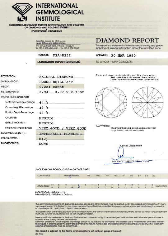 Foto 9, Diamant 0,224 ct Brillant IGI Expertise Lupenrein Weiss, D6191